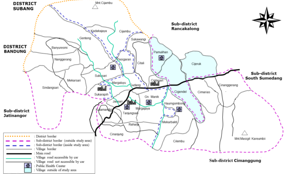 Map of Tanjung Sari Cohort Study before Area Expansion in 2001